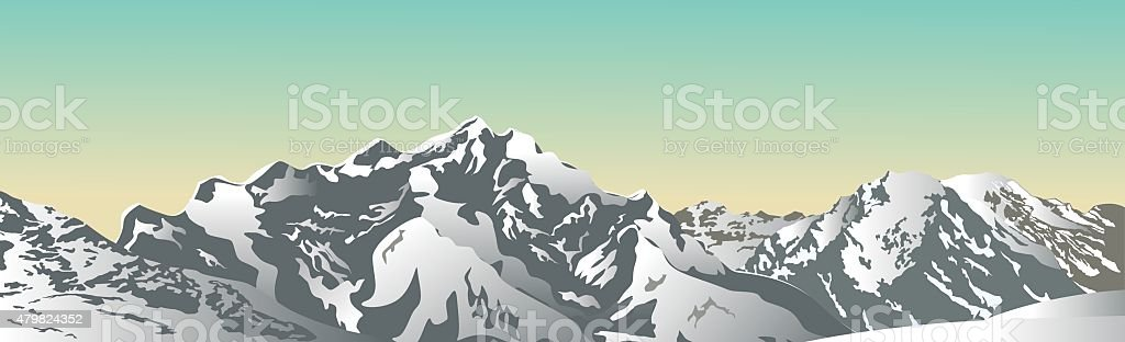 Snowy mountains. vector art illustration