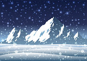 Snowy Mountains, Winter Landscape with Bokeh Effect