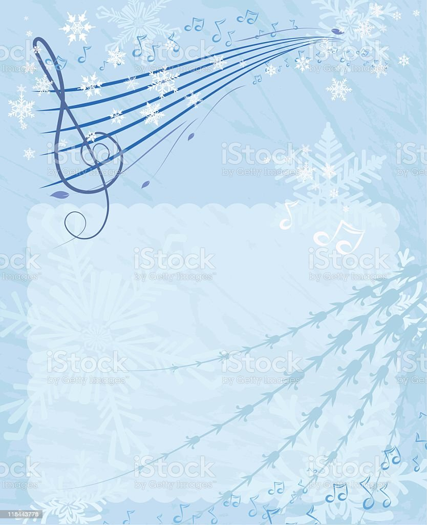 Snowy Music Background royalty-free stock vector art