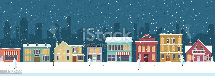 Snowy night in cozy christmas town city panorama. Winter christmas village NIGHT landscape. NEW YEAR