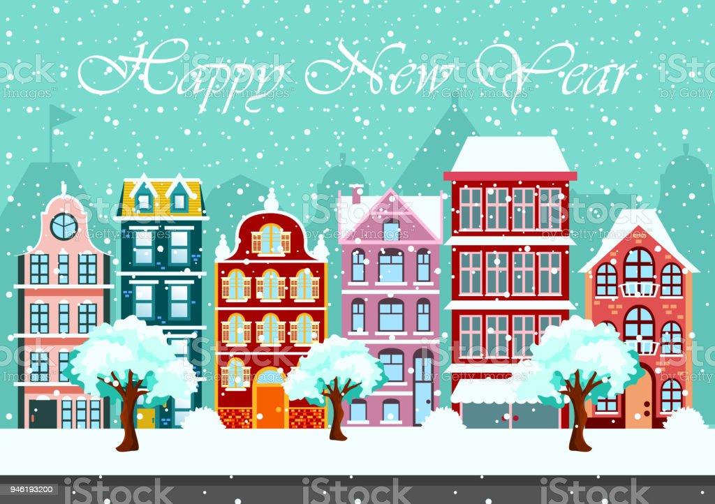 居心地の良い町シティ パノラマの雪の夜フラット スタイルのクリスマス