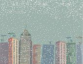 Cartoon City In The Winter At Night