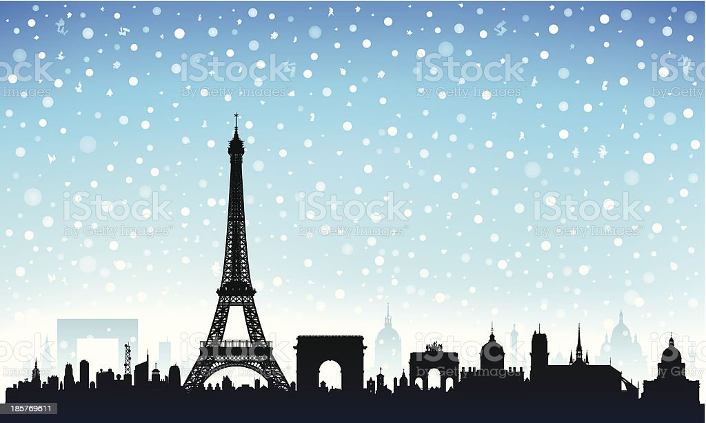 Snowy Paris (Each Building is Moveable and Complete) royalty-free stock vector art