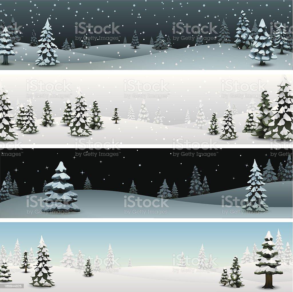 Snowy Pine Banners vector art illustration