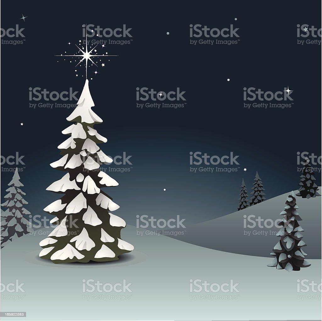 Snowy Pine with Star vector art illustration