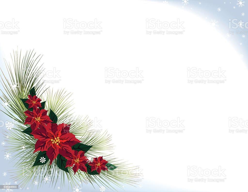 Snowy Poinsettia Background royalty-free stock vector art