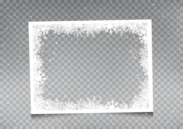 bildbanksillustrationer, clip art samt tecknat material och ikoner med snöig rektangulär rammall - christmas frame