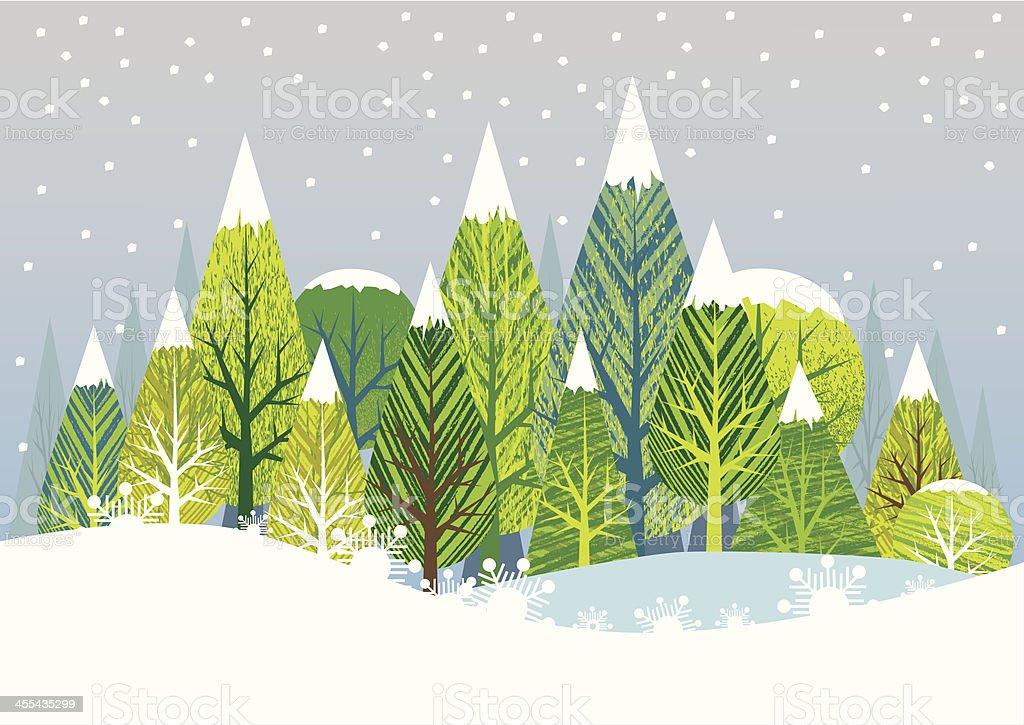 Snowy Scene vector art illustration