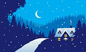 Night time snowy scene with house. Includes pine trees, snow flakes and snowy hills. Artwork on editable and separate layers. Download includes an AI8 EPS vector file and a high resolution JPEG file (min. 1900 x 2800 pixels).