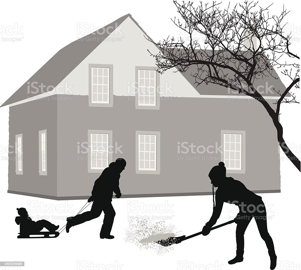 Snowy Vector Silhouette vector art illustration