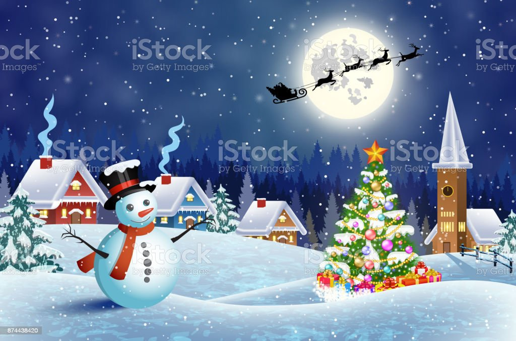 snowy village landscape stock vector art more images of backdrop