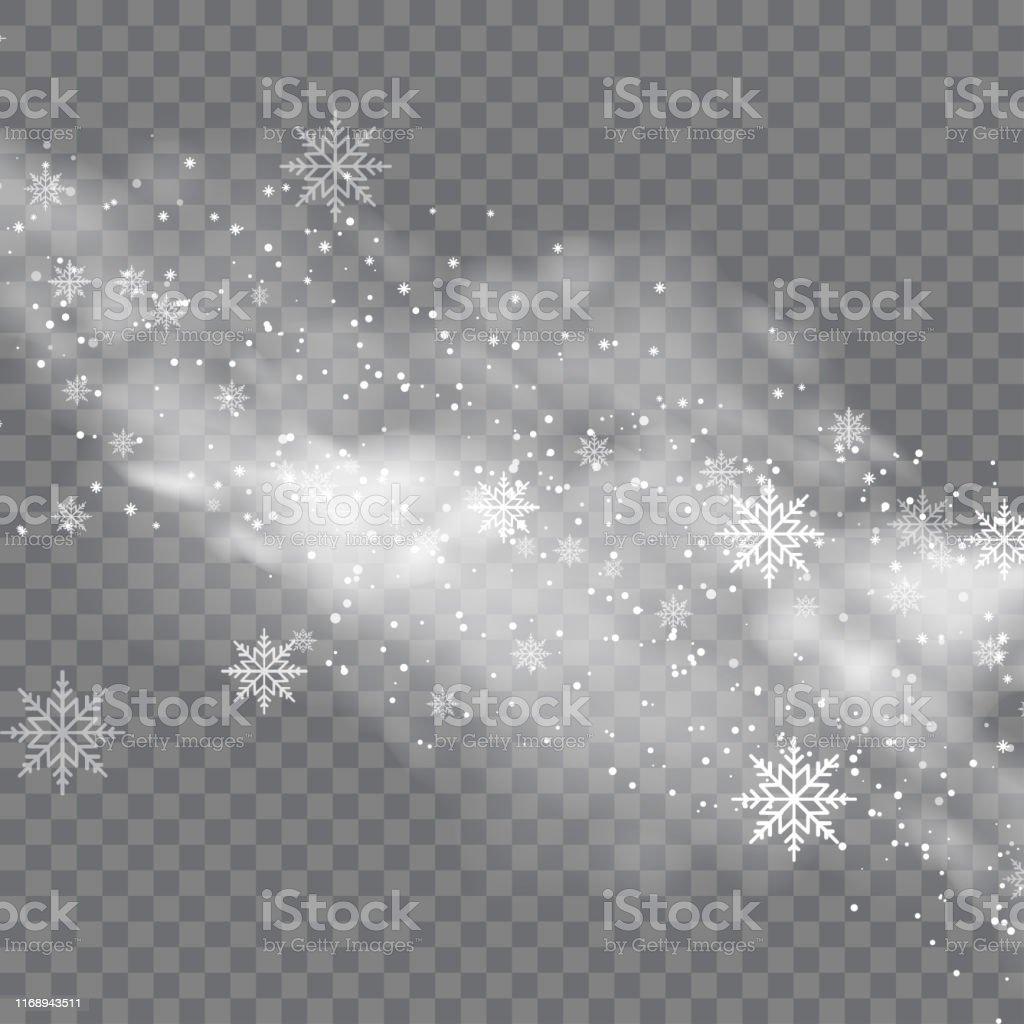 Besneeuwde winter en mist op transparante achtergrond. Vector - Royalty-free Abstract vectorkunst