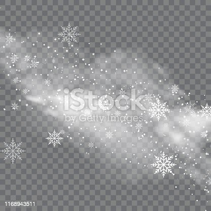 istock Snowy winter and fog on transparent background. Vector 1168943511