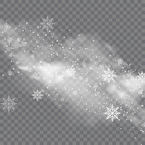 snowy winter and fog on transparent background. vector - para formy wodne stock illustrations