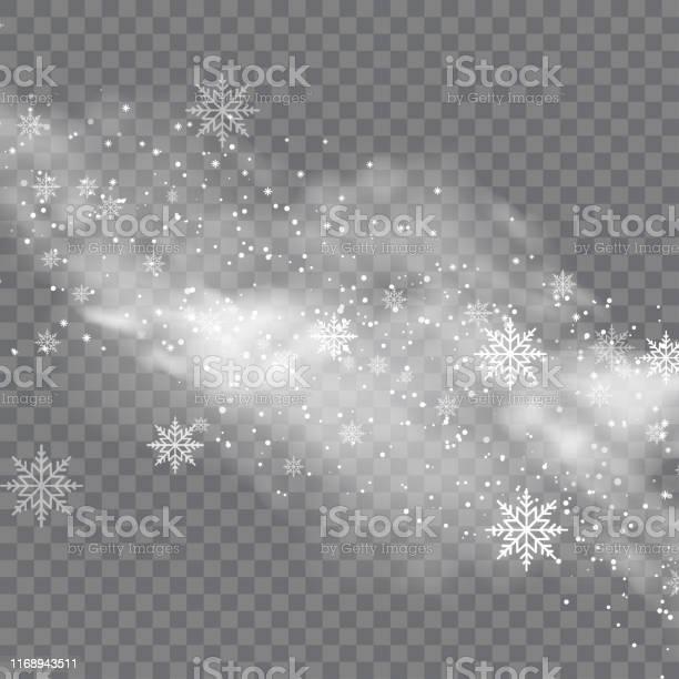 Besneeuwde Winter En Mist Op Transparante Achtergrond Vector Stockvectorkunst en meer beelden van Abstract