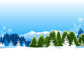 Winter background. All elements are separate objects. File is layered, global colors used and hi res jpeg included. Only simple gradient used, No flattened transparency. Please take a look at other work of mine linked below.