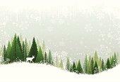 Green and white winter forest grunge background design.