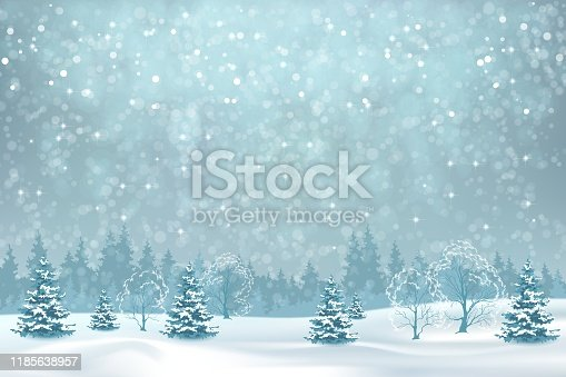 Winter forest and snow drifts in a frosty haze. Vector winter snowy landscape. Christmas background with snowfall