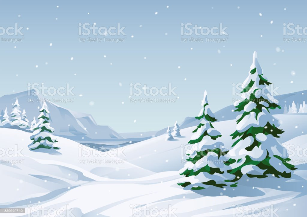 Snowy Winter Landscape Vector illustration of a winter mountain landscape with snowy fir trees, hills and mountains. Snow stock vector