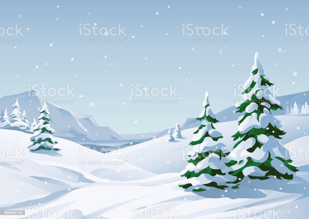 Paysage d'hiver enneigé - Illustration vectorielle