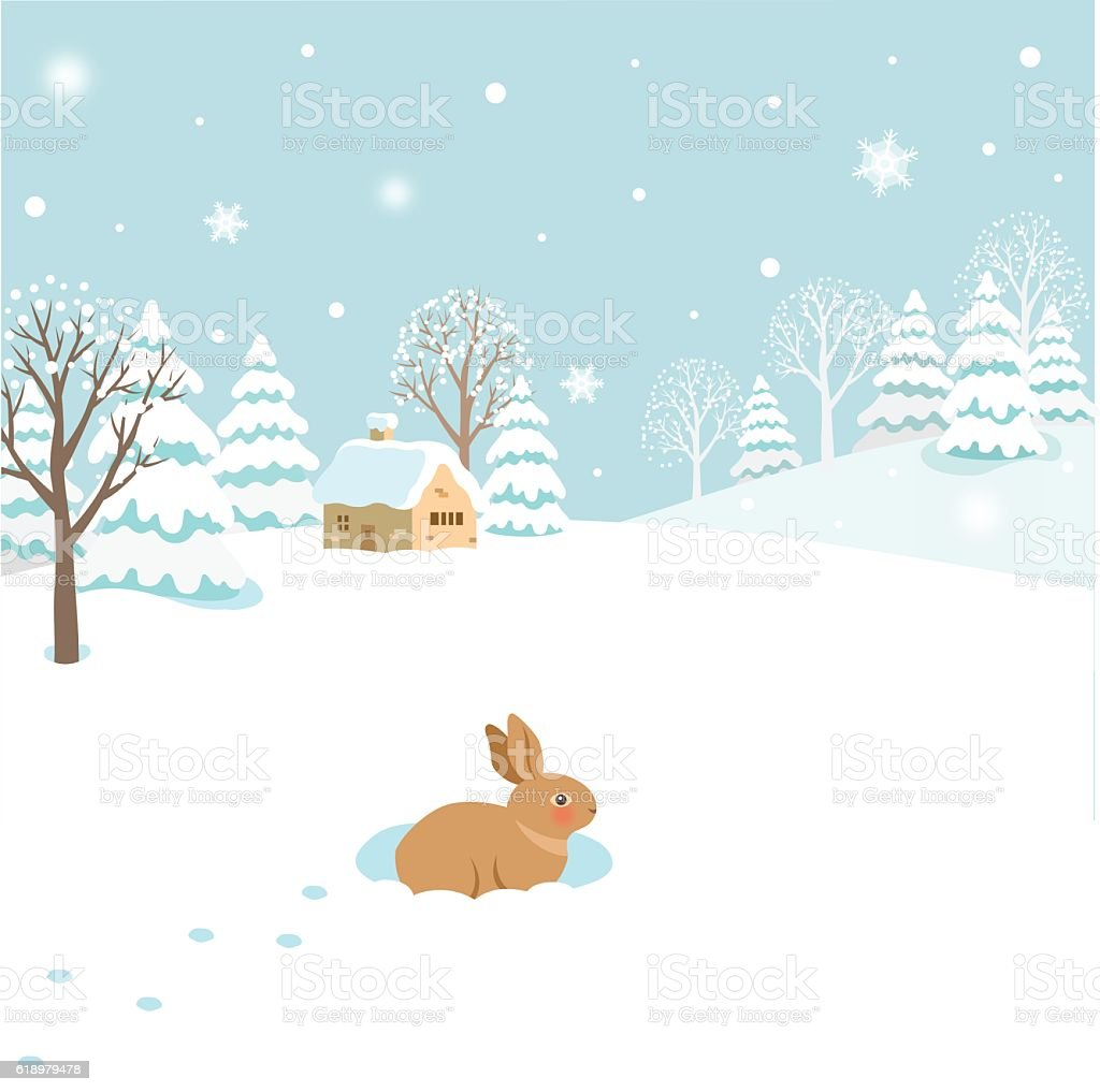 Snowy winter landscape with rabbit vector art illustration