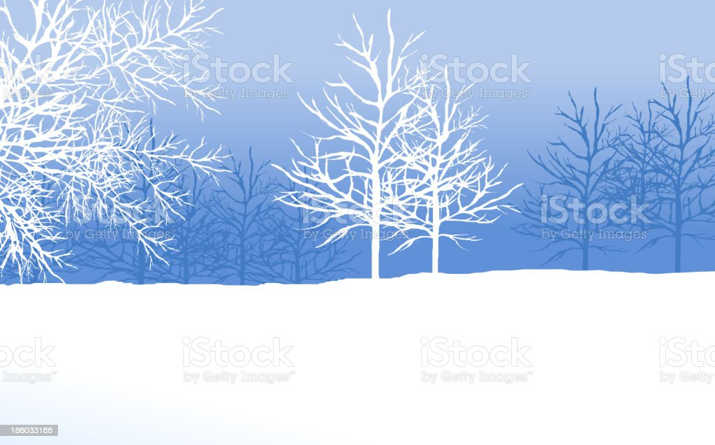 snowy winter landscape with tree vector art illustration