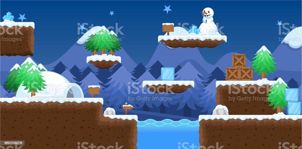 Snowy Winter Platformer Game Tileset Stock Illustration