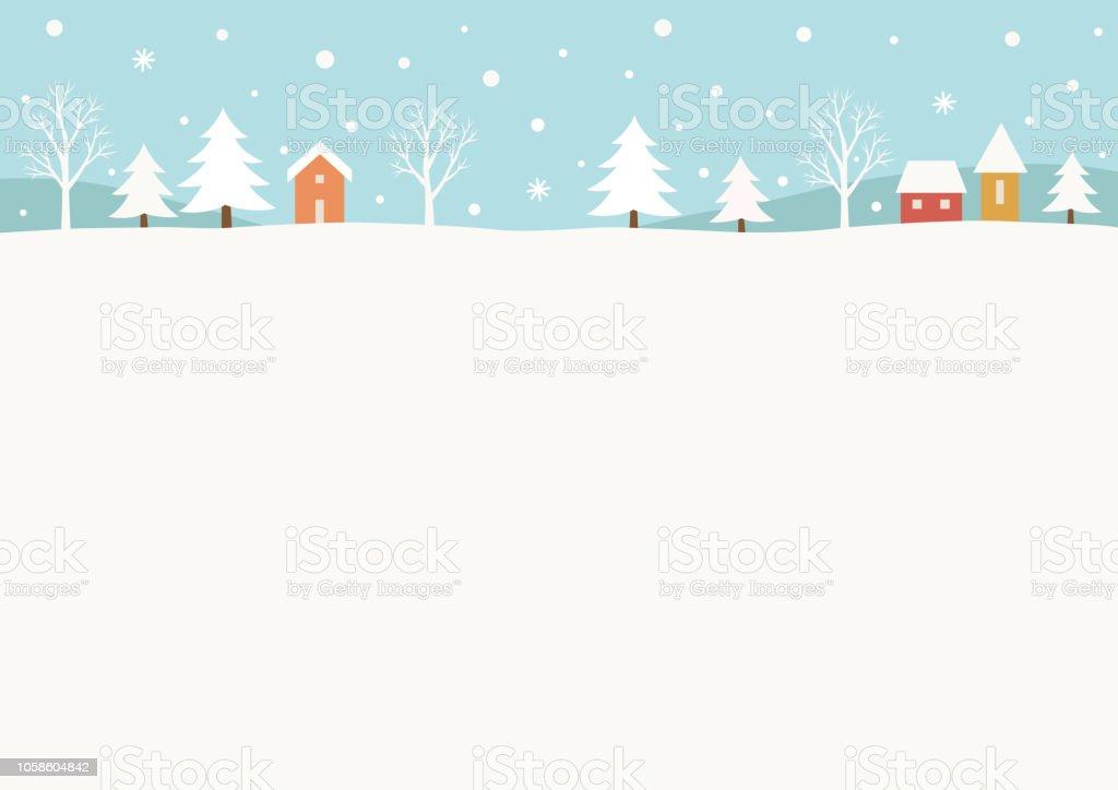 Snowy winter landschap-achtergrond - Royalty-free Achtergrond - Thema vectorkunst
