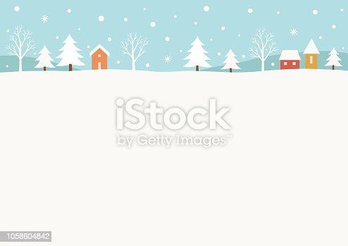 istock Snowy winter rural landscape background 1058604842