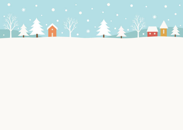 ilustrações, clipart, desenhos animados e ícones de fundo de paisagem rural de inverno nevado - inverno
