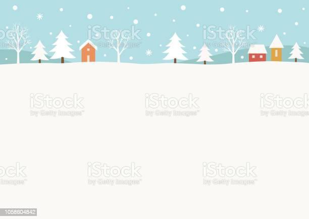 Snowy Winter Landschapachtergrond Stockvectorkunst en meer beelden van Achtergrond - Thema