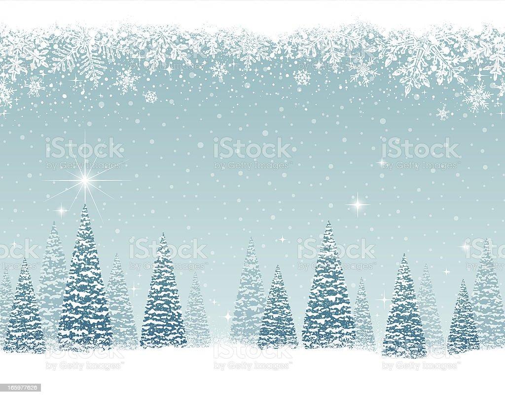 Snowy Winter Trees vector art illustration