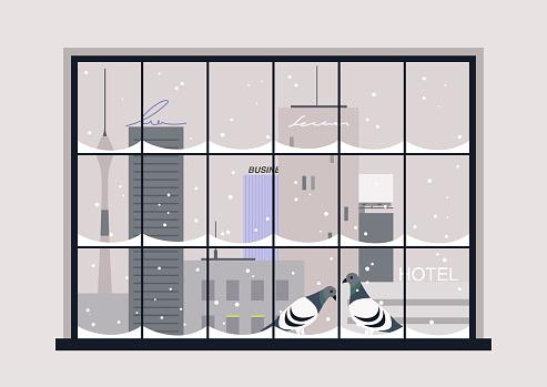 Snowy winter urban panorama, two pigeons sitting on the window cornice, christmas eve