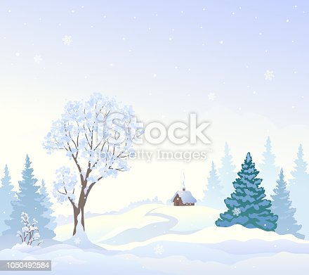 Vector drawing of a winter landscape with a small house, snowy wonderland background