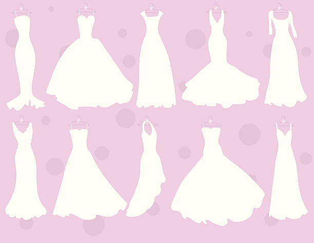 So Many Dresses A variety of different wedding dress styles. wedding dress stock illustrations