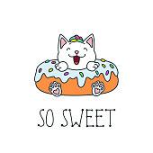 Kawaii illustration of a cute cat donut. Vector 8 EPS.