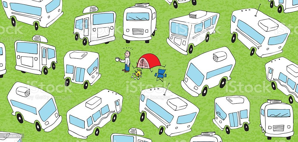 So, this is camping? vector art illustration