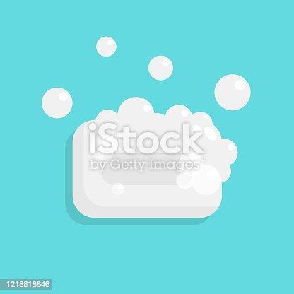 istock Soap and Bubbles Icon Flat Design. 1218818646