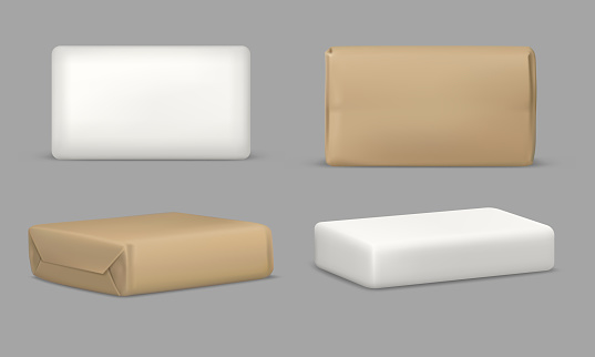 Soap bar and package, rectangular mockup template