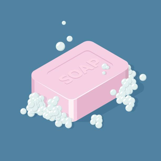 illustrations, cliparts, dessins animés et icônes de barre de savon à bulles. illustration vectorielle isométrique - mousse d'emballage