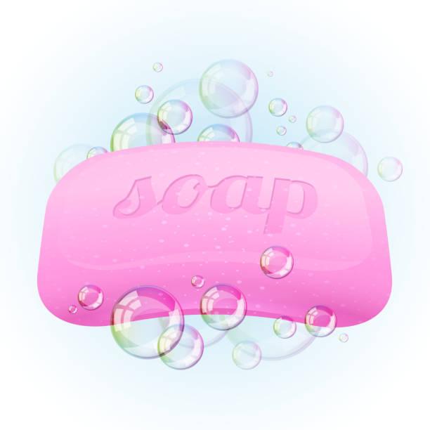 Soap bar with bubbles - vector illustration. vector art illustration