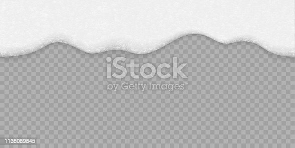 Soap bubble foam white background. Vector seamless beer, shampoo or sea water and bath foam texture on transparent background