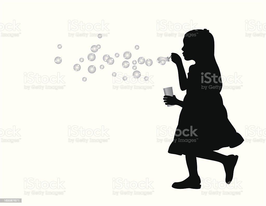 Soap Bubble Girl Vector Silhouette vector art illustration