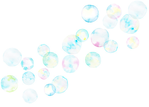 Soap bubbles background painted by watercolor