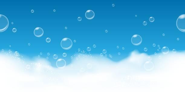 illustrations, cliparts, dessins animés et icônes de fond de bulles de savon - mousse d'emballage