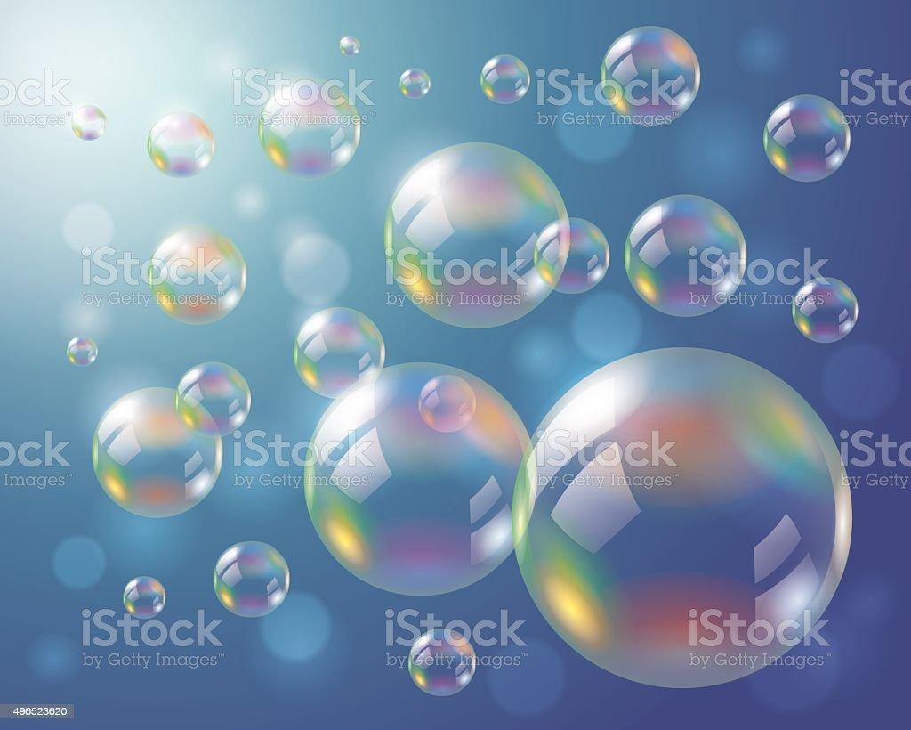 Soap Bubbles Background vector art illustration