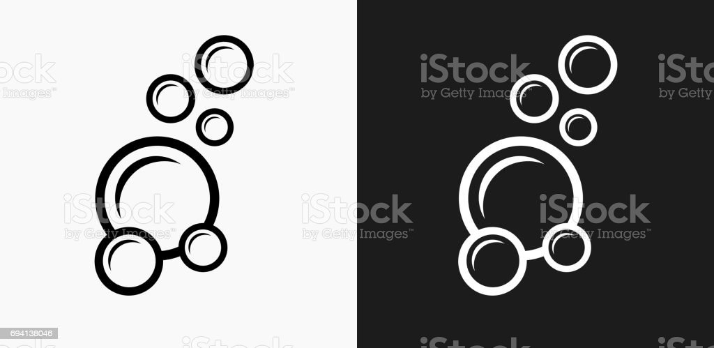 Soap Bubbles Icon on Black and White Vector Backgrounds vector art illustration