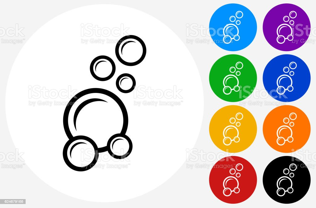 Soap Bubbles Icon on Flat Color Circle Buttons vector art illustration