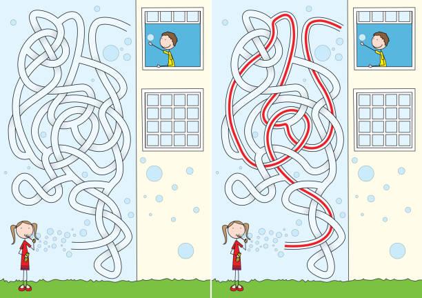 Labirinto de bolhas de sabão - ilustração de arte em vetor