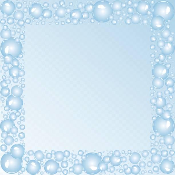 Soap bubbles square frame. Soap bubbles background. Air bubbles vector. Bubbles square frame bathroom borders stock illustrations